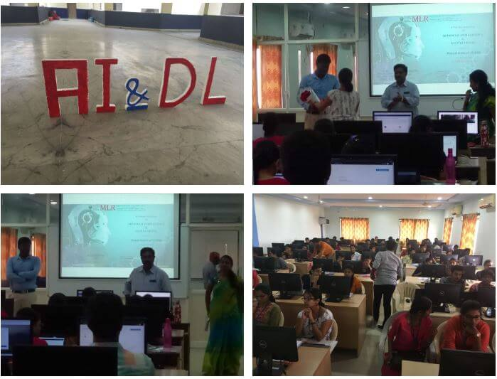 Gallery  AI/ML Workshop at AI/ML workshop at MLR Institute of Technology, Hyderabad 							March 09 to March 10, 2019.