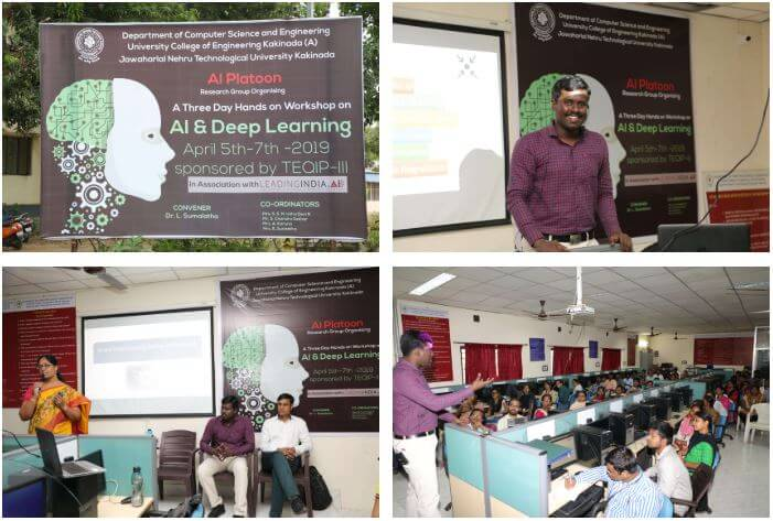 Gallery AI/ML Workshop at University College of Engineering, Kakinada April 05, 2019 to 07, 2019.