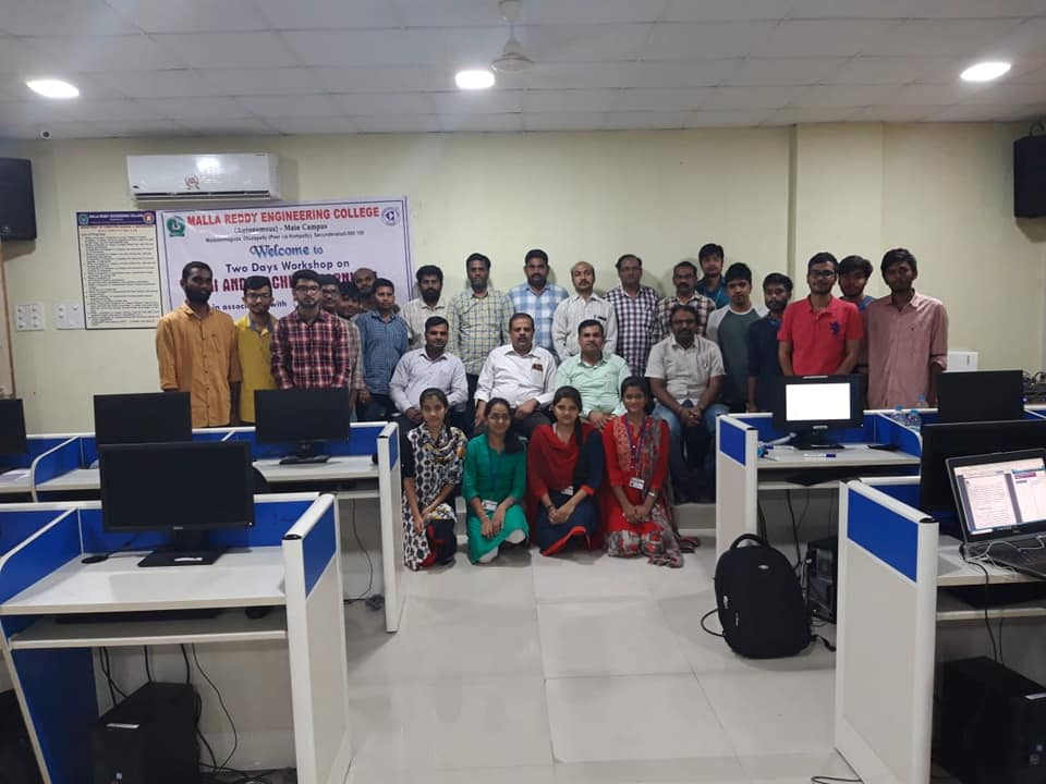 Gallery AI/ML Workshop at Malla Reddy Engineering College, Hyderabad, April 27 to 28, 2019.